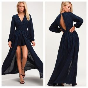 Honey Punch Navy Embroidered Maxi Dress Romper NWT